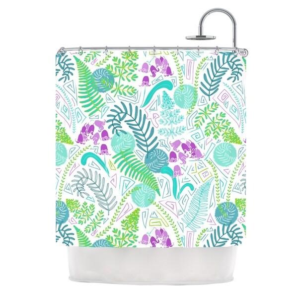 KESS InHouse Anneline Sophia Fern Forest Blue Teal Shower Curtain (69x70)