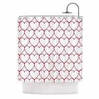 KESS InHouse Anneline Sophia Soulmates - Red Red Love Shower Curtain (69x70)