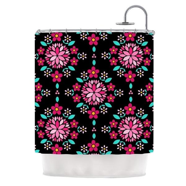 KESS InHouse Anneline Sophia Dahlia Mandala Pink Black Shower Curtain (69x70)