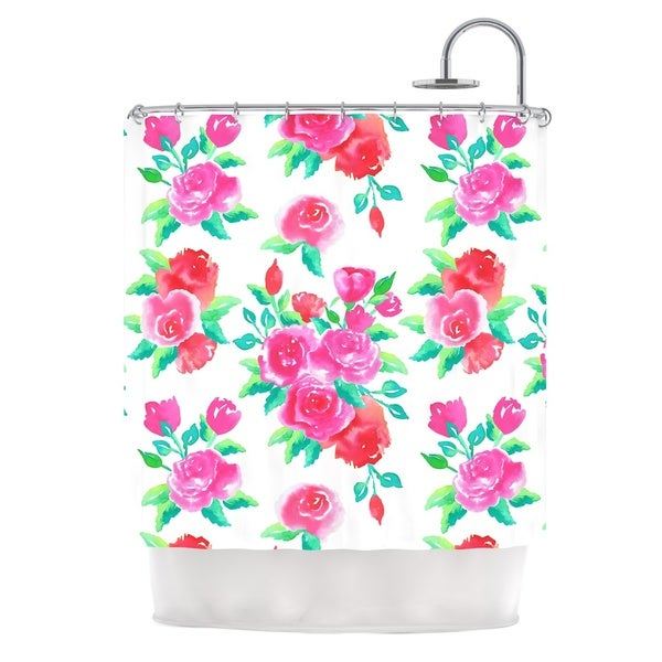 KESS InHouse Anneline Sophia Pink Roses Magenta Floral Shower Curtain (69x70)