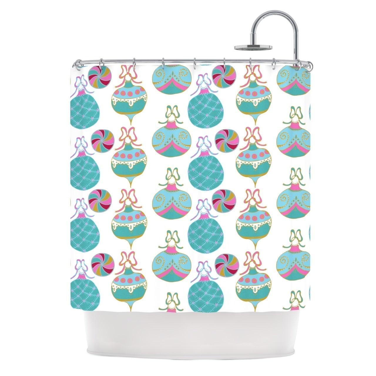 KESS InHouse Anneline Sophia Vintage Baubles Teal Seasonal Shower ...
