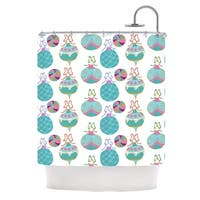 KESS InHouse Anneline Sophia Vintage Baubles Teal Seasonal Shower Curtain (69x70)