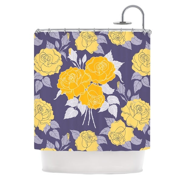 KESS InHouse Anneline Sophia Summer Rose Yellow Purple Lavender Shower Curtain (69x70)