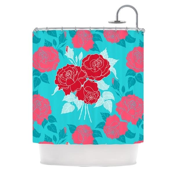 KESS InHouse Anneline Sophia Summer Rose Red Blue Aqua Shower Curtain (69x70)