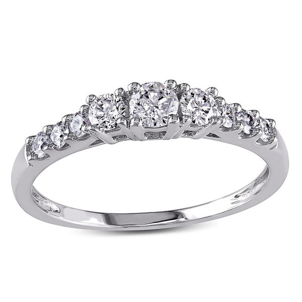 Miadora 14k White Gold 1/2ct TDW Round Diamond Engagement Ring