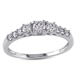 Miadora 14k White Gold 1/2ct TDW Round Diamond Engagement Ring