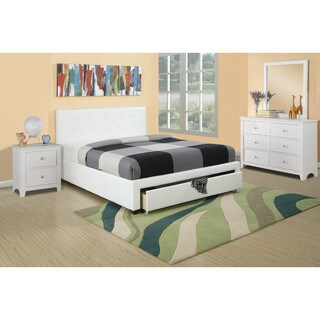 Bobkona White Faux Leather Upholstered Storage Bed