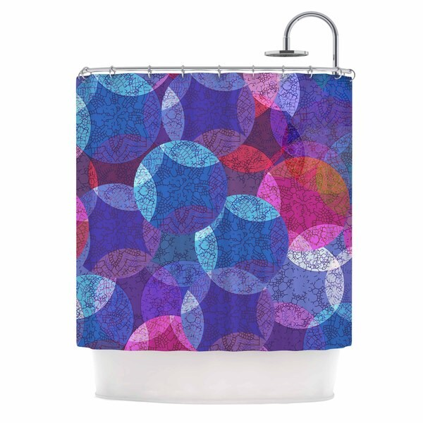 KESS InHouse Fernanda Sternieri Mandala In Blue Pink Abstract Shower Curtain (69x70)