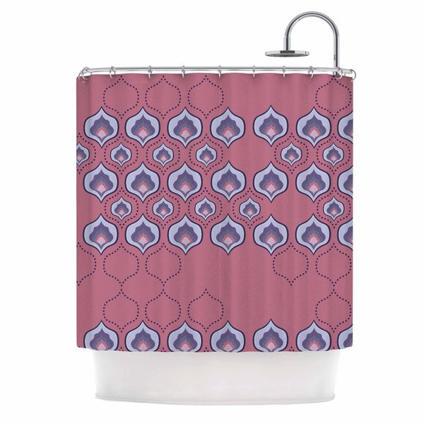 KESS InHouse Fernanda Sternieri Happy Path In Coral Coral Pattern Shower Curtain (69x70)