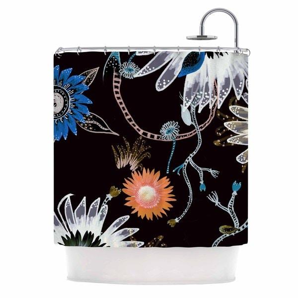 KESS InHouse Fernanda Sternieri Dancing Flowers Blue Digital Shower Curtain (69x70)