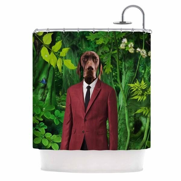 KESS InHouse Natt Into The Leaves N2 Green Dog Shower Curtain (69x70)