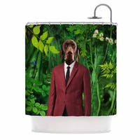 KESS InHouse Natt Into The Leaves N2 Green Dog Shower Curtain (69x70)