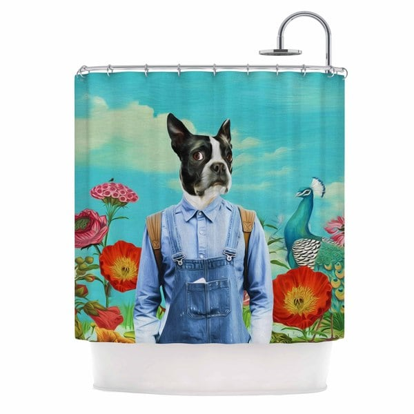 KESS InHouse Natt Family Portrait N3 Blue Dog Shower Curtain (69x70)