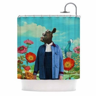KESS InHouse Natt Family Portrait N2 Blue Cow Shower Curtain (69x70)