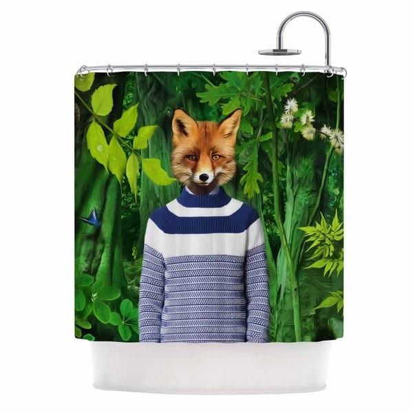 KESS InHouse Natt Into The Leaves N7 Green Fox Shower Curtain (69x70)