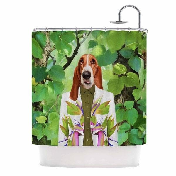 KESS InHouse Natt Into The Leaves N6 Green Dog Shower Curtain (69x70)