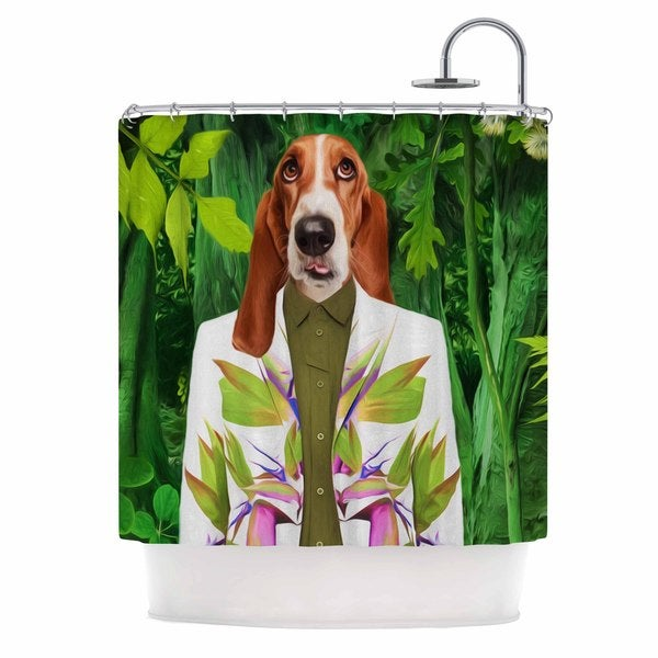 KESS InHouse Natt Into The Leaves N5 Green Dog Shower Curtain (69x70)