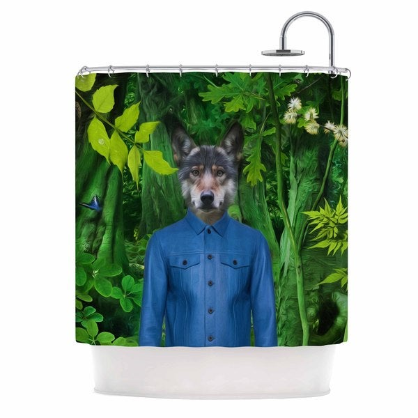 KESS InHouse Natt Into The Leaves N3 Green Wolf Shower Curtain (69x70)