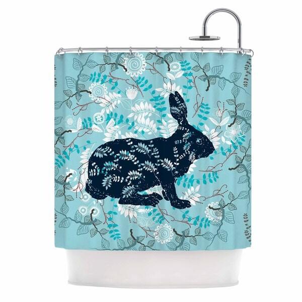 KESS InHouse Famenxt Bunny In The Jungle Blue Animals Shower Curtain (69x70)
