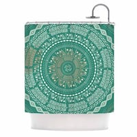 "KESS InHouse Famenxt ""Mint Medallion"" Mint Pattern Shower Curtain (69x70) - 69 x 70"