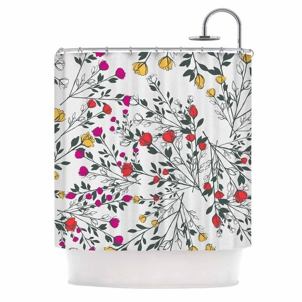 KESS InHouse Famenxt Rose Blossom Garden Red Floral Shower Curtain (69x70)