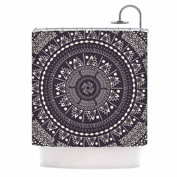 KESS InHouse Famenxt Swadesi Boho Mandala Black Illustration Shower Curtain (69x70)