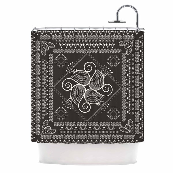 KESS InHouse Famenxt Paisley Into The Dreams Dark Gray Digital Shower Curtain (69x70)