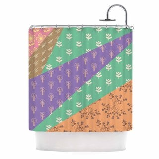 KESS InHouse Famenxt Garden Multicolor Digital Shower Curtain (69x70)