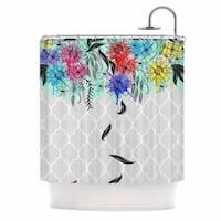 "KESS InHouse Famenxt ""Watercolor Spring"" Gray Floral Shower Curtain (69x70) - 69 x 70"