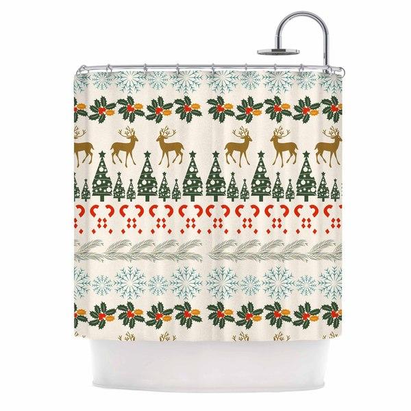 KESS InHouse Famenxt Christmas Vibes Holiday Pattern Shower Curtain 69x70