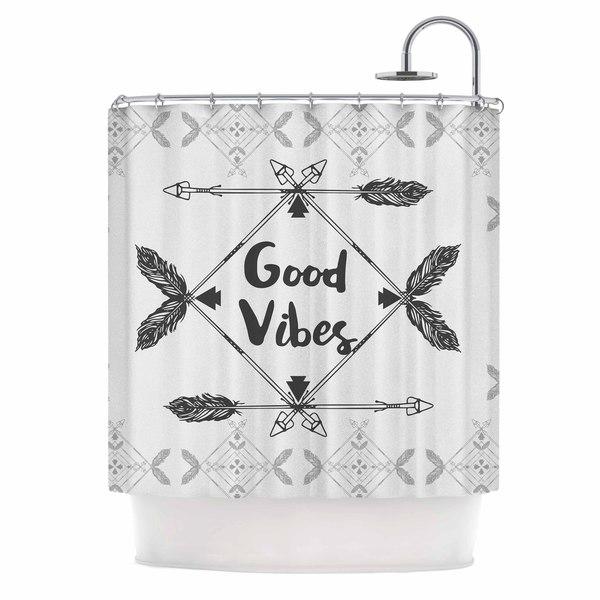 KESS InHouse Famenxt Boho Good Vibes Black Gray Shower Curtain (69x70)