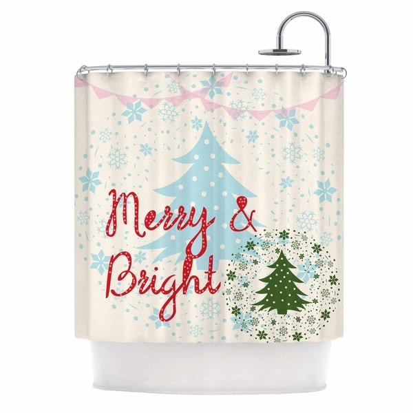 KESS InHouse Famenxt Merry And Bright Holiday Typography Shower Curtain (69x70)