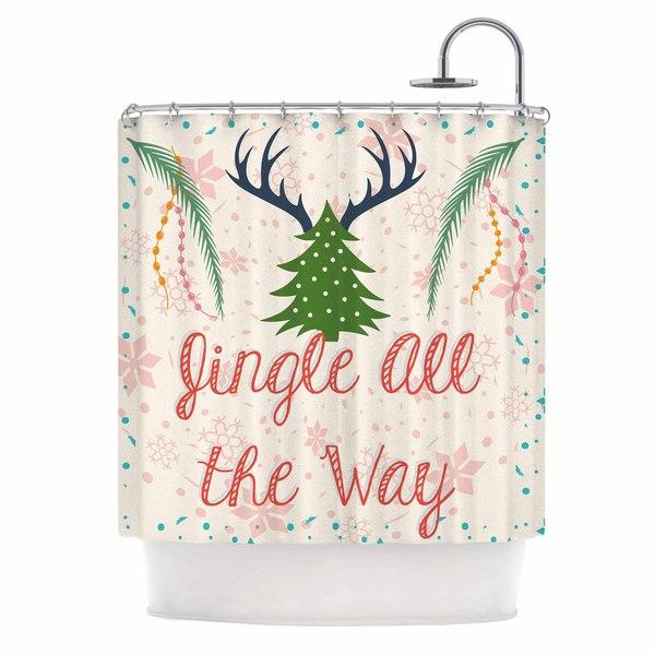KESS InHouse Famenxt Jingle All The Way Holiday Digital Shower Curtain (69x70)