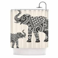 KESS InHouse Famenxt Ornate Indian Elephant-Boho Black Beige Shower Curtain (69x70)