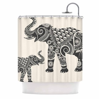 KESS InHouse Famenxt Ornate Indian Elephant-Boho Black Beige Shower Curtain (69x70)
