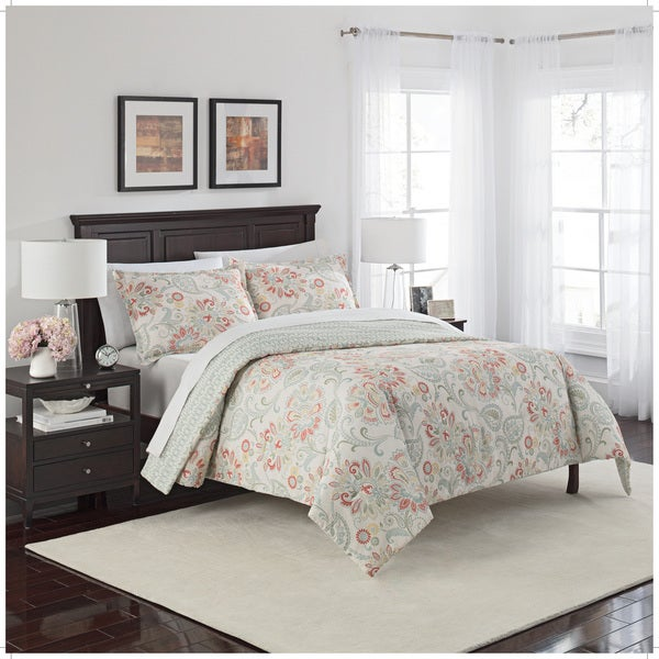 Marble Hill Carlisle Reversible 100% cotton 3-Piece Comforter Set