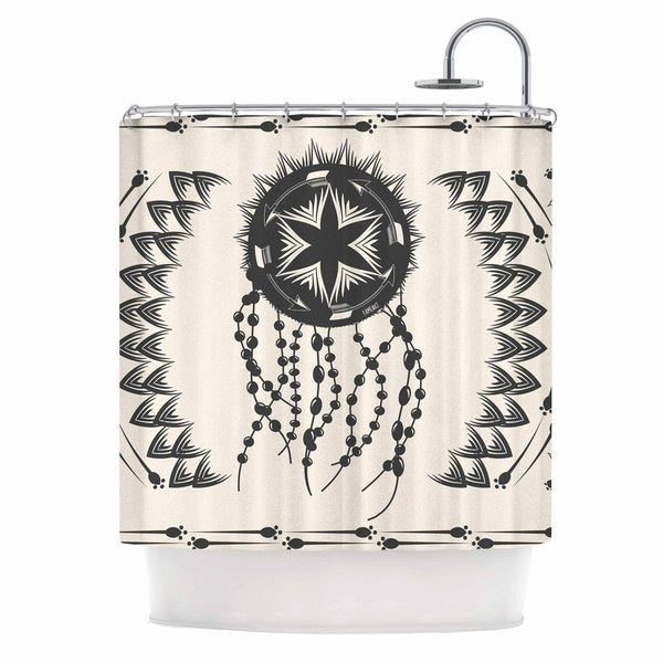 KESS InHouse Famenxt Bohemian Dream Catcher Boho Black Beige Shower Curtain (69x70)