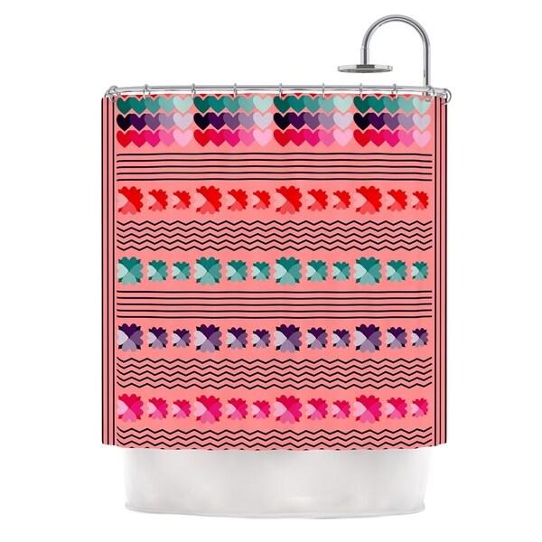 KESS InHouse Famenxt Romantic Love Pattern Pink Abstract Shower Curtain (69x70)