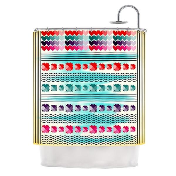 KESS InHouse Famenxt Love Pattern Teal Yellow Shower Curtain (69x70)
