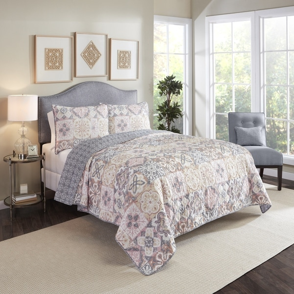 Marble Hill Torrey Reversible 100% cotton 3-Piece Quilt Set