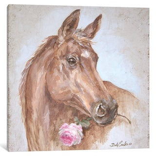 iCanvas 'French Farmhouse Series: Horse With Rose' by Debi Coules Canvas Print