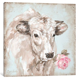 iCanvas 'French Farmhouse Series: Cow With Rose II' by Debi Coules Canvas Print