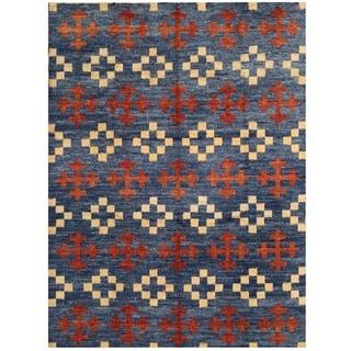 Herat Oriental Afghan Hand-knotted Vegetable Dye Gabbeh Wool Rug (10'6 x 13'10)