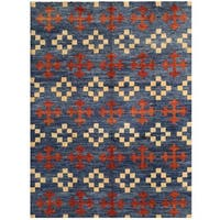Herat Oriental Afghan Hand-knotted Vegetable Dye Shag Gabbeh Wool Rug (10'6 x 13'10)