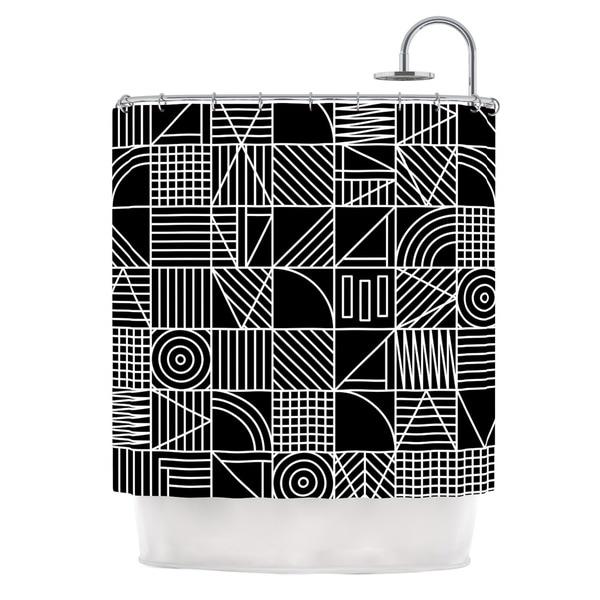KESS InHouse Fimbis Whack Black White Shower Curtain (69x70)
