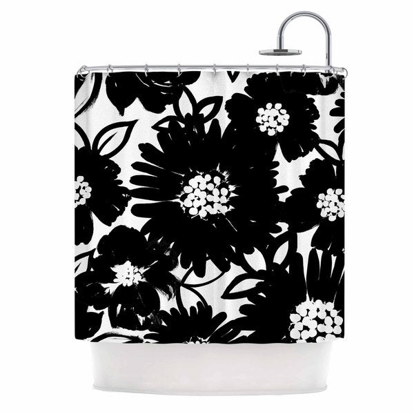 KESS InHouse Emine Ortega Monochromatic Blooms Black White Shower Curtain (69x70)