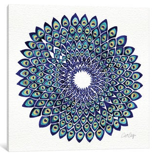 iCanvas 'Blue Gold Peacock Artprint' by Cat Coquillette Canvas Print