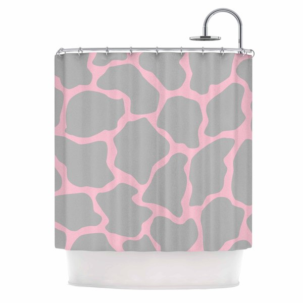 KESS InHouse Wildlife Pink Animal Print 9 Pink Digital Shower Curtain (69x70)