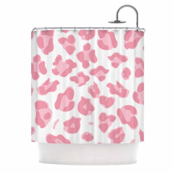 KESS InHouse Wildlife Pink Animal Print 2 Pink Digital Shower Curtain (69x70)