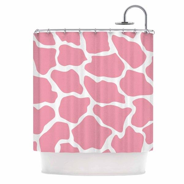 KESS InHouse Wildlife Pink Animal Print 11 White Digital Shower Curtain (69x70)